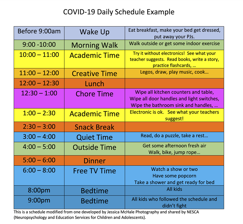 COVID-19 Schedule Example